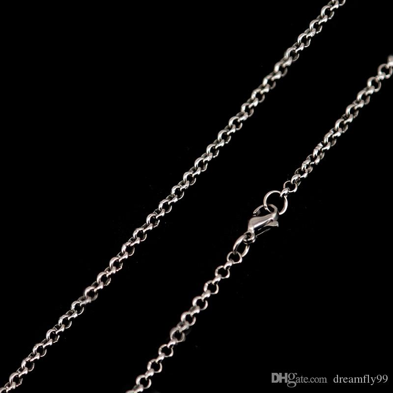 "rolo Chain 20"" 24'' 30"" 316L stainless steel 2.5mm width necklace chain for women men pendant"