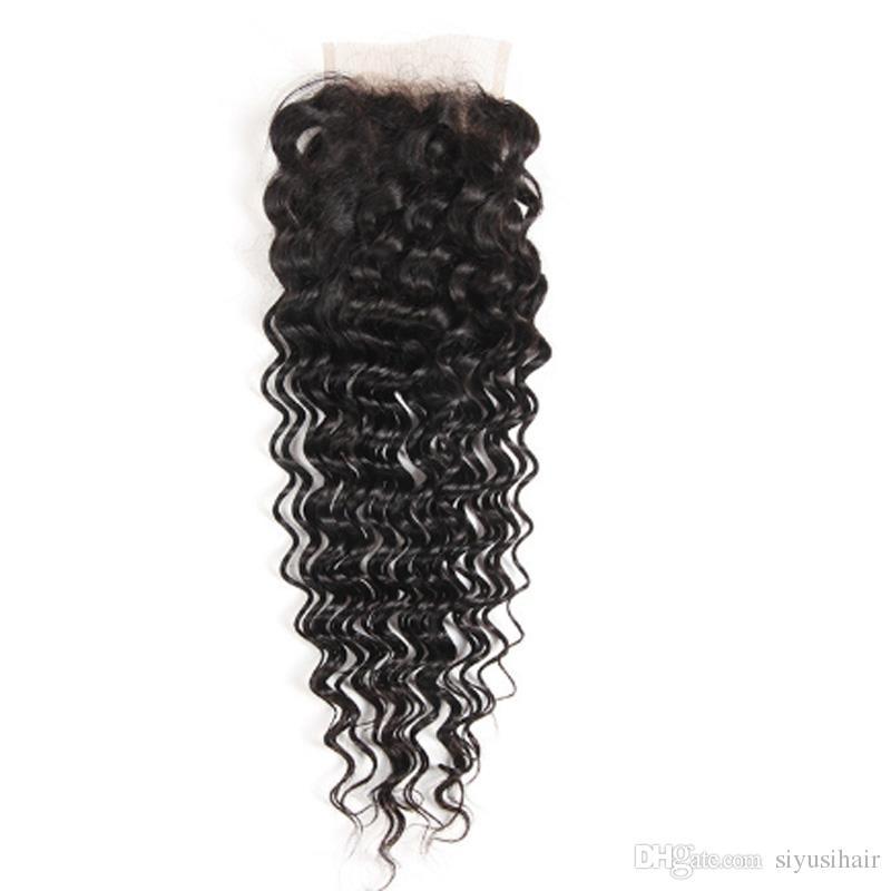 9a بيرو الماليزية الهندية المنغولية البرازيلي العذراء الشعر حزم مع إغلاق موجة عميقة / غريب مجعد الشعر البشري مع الدانتيل إغلاق