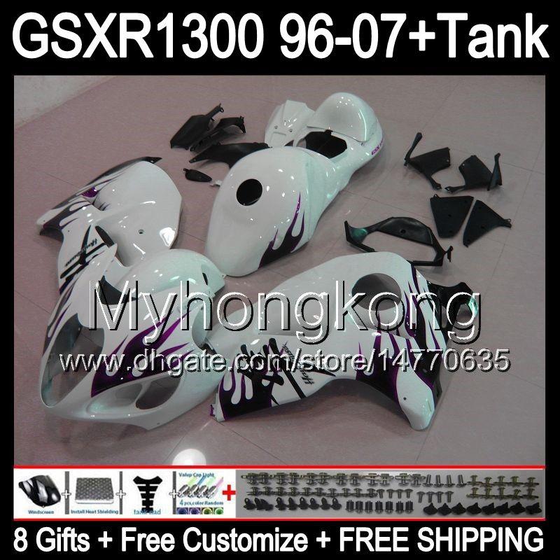 8gift purple flames For SUZUKI Hayabusa GSXR1300 96 97 98 99 00 01 13MY127 GSXR 1300 GSX-R1300 GSX R1300 02 03 04 05 06 07 TOP white Fairing