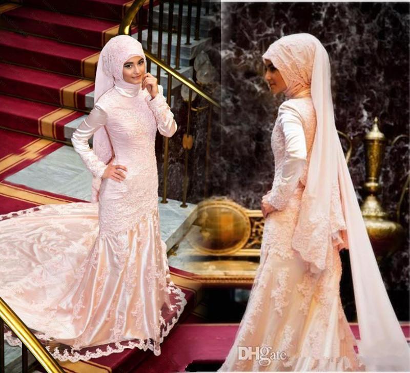 2016 Dubai Wedding Dresses Pink Lace High-Neck Muslim Wedding Dresses Arabic Ball Gowns Bridal Custom Made Organza 2016 Wedding Gowns For Wo