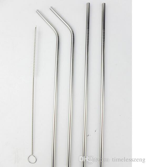 """More size stainless steel straw straight and bent 8.5""""/ 9.5"""" /10.5"""" reusable drinking straw with processed nozzles kitchen bar drinking tool"""