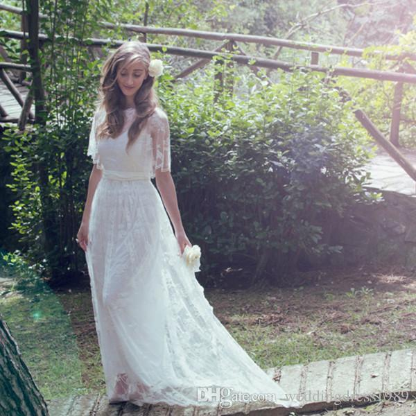 Elegant Sheer Lace Bohemian Beach Wedding Dresses Short Sleeve Spring Boho Garden Country Style 2018 Vestido de novia Formal Bridal Gown