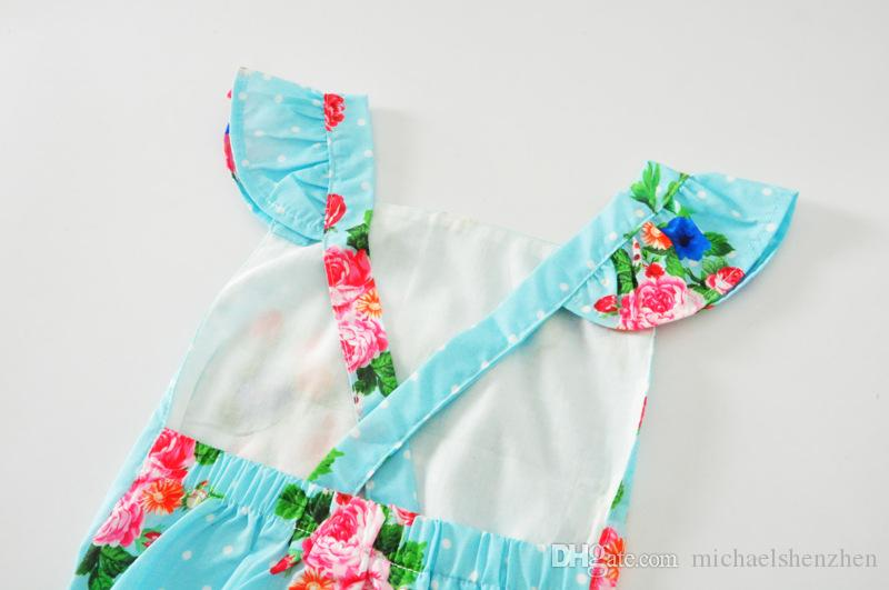 2017 New baby INS flower Rompers Girl Cotton print romper +Big Bows headbands sets baby clothes 0-3years B001