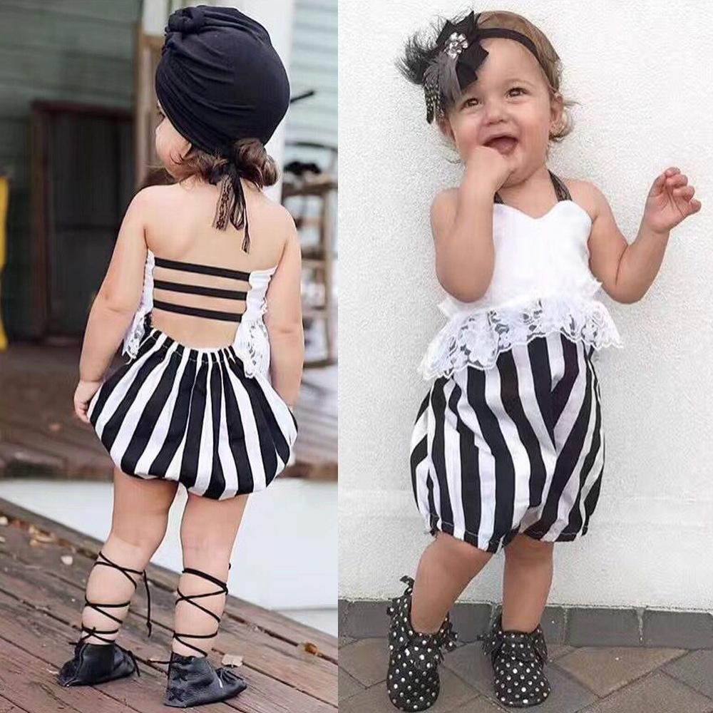 659f306ec16 2019 HUG ME Summer New Baby Girls Rompers Cute Infant Lace Romper One Piece  Toddelr Clothing Jumpsuit Vertical Kids Girl S Jumpsuits Onesie From  Hugme baby