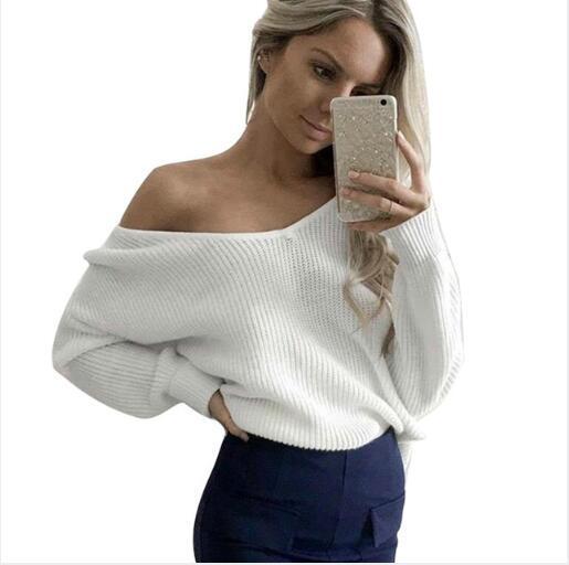 2018 Wholesale Long Sleeve White Sweater Shirts Women V Neck ...