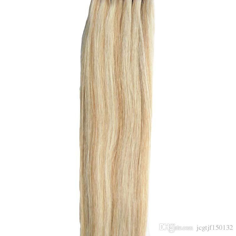 Fita em extensões de cabelo humano p27 / 613 piano cor loira cabelo brasileiro cabelo pele de trama de pele extensões 100g fita dupla desenhada em