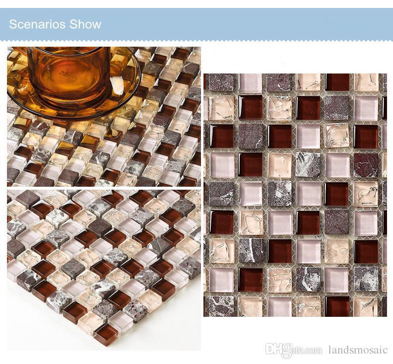 Großhandel Marmor Stein Mix Crystal Glas Mosaik Fliesen Bad Dusche - Steinfliesen für den boden