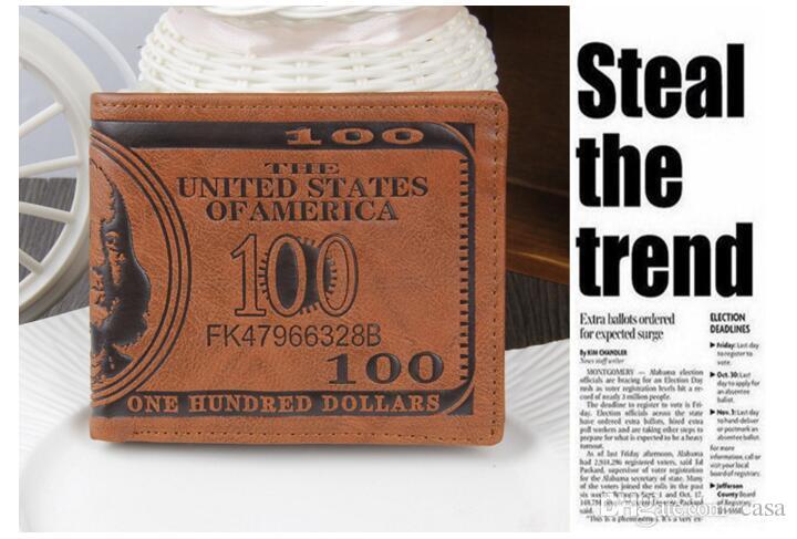 2017 de Moda de Cuero de Los Hombres Carteras Monedero Dólar Precio Patrón Creativo Para Hombre Titular de la Tarjeta Monedero Hombre Monederos Monederos