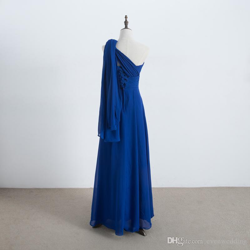 롱 쉬폰 컨버터블 신부 들러리 드레스 레이스 2020 로얄 블루 웨딩 게스트 드레스 100 % 실제 사진