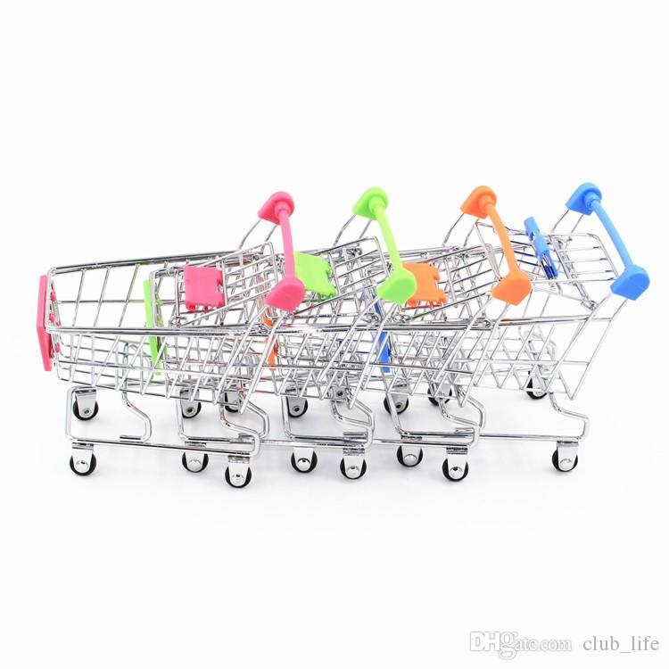 60pcs/lot Hot Fashion Mini Supermarket Hand Trolleys Mini Shopping Cart Desktop Decoration Storage Phone Holder Baby Toy New
