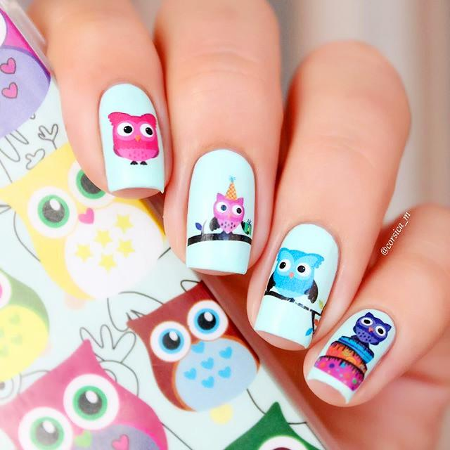 Wholesale 2 Patterns/Sheet Cartoon Owl Nail Art Water Decals ...