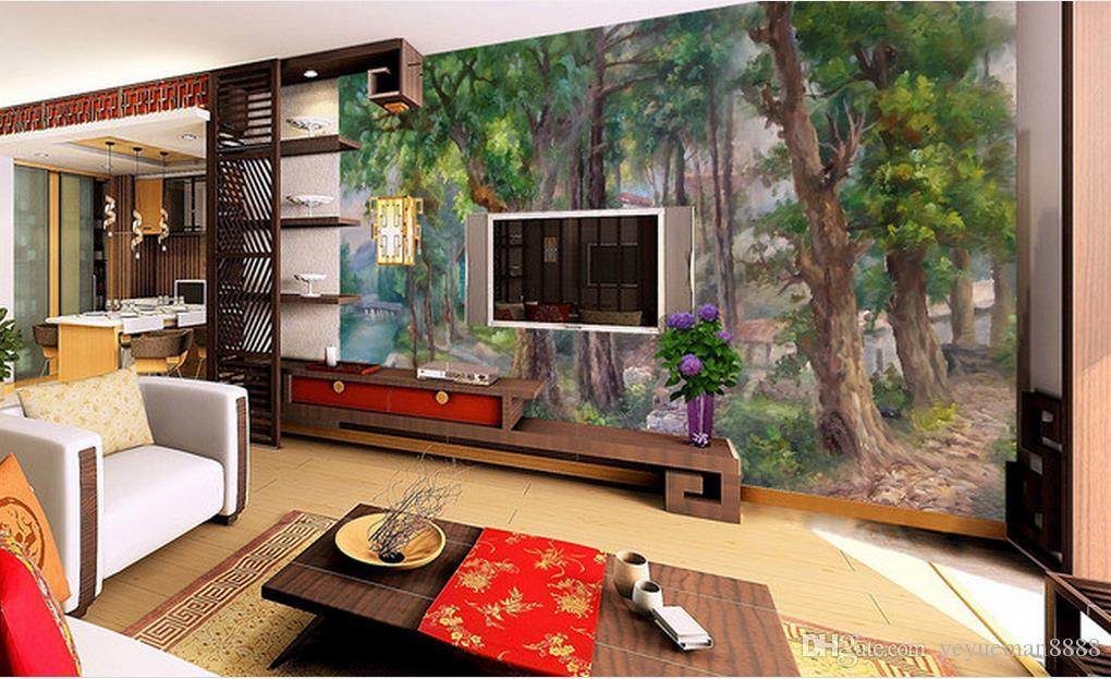 luminous wallpapers Custom modern landscape wallpaper murals Lakeshore stone tree painting 3d wallpapers for wall