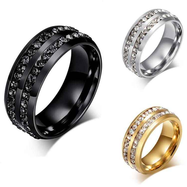 Luxury Full Diamond Wedding Ring Shinning Crystal Titanium Stainless