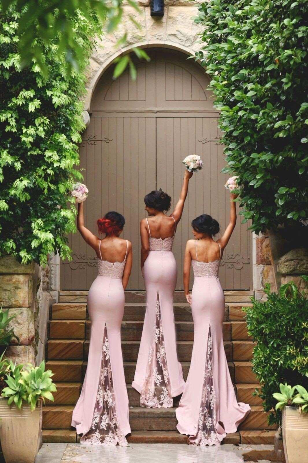2019 Blush Pink Bridesmaid Dresses Spaghetti Strap Sleeveless Mermaid Lace Junior Country Bridesmaid Dresses Long Maid Of Honor Dress