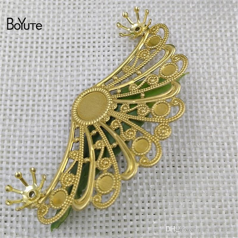 BoYuTe 29*55MM HOT Sale Pure brass Filigree Floating Flower Charms Vintage for Fashion DIY Jewelry Making