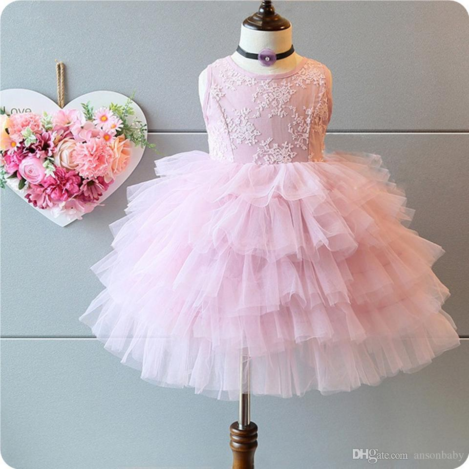 2017 Princess Flower Girl Dress Summer 2017 Tutu Wedding Birthday ...