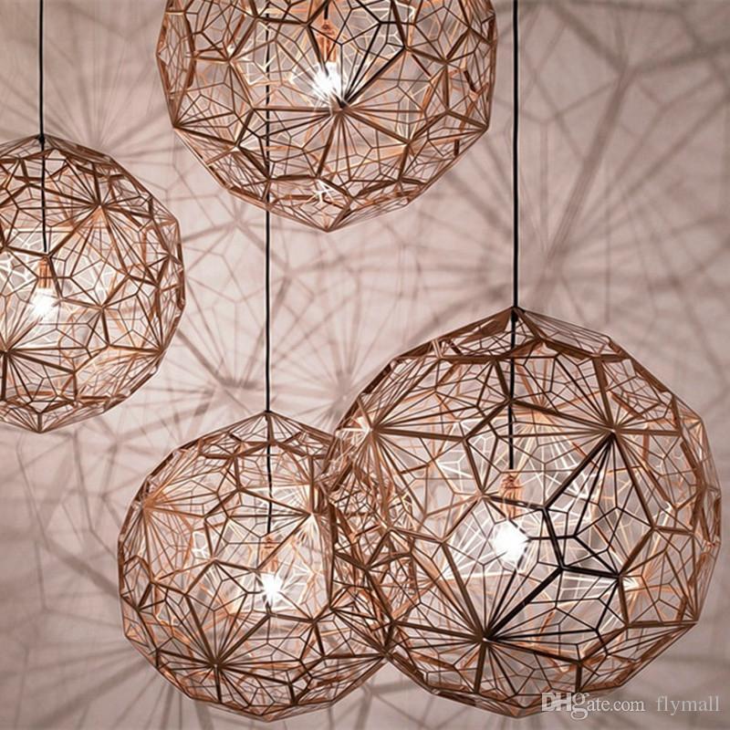 Etch LED Light Web Copper / Silver Chandeliers Tom Dixon Pendant Lamp Lights Creative Diamond Droplight Light Lighting Home Bar Decor Lights