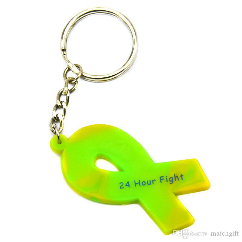 昇進の贈り物のための動機づけのロゴ4色の癌リボンのシリコーンキーホルダーとの24時間の戦い