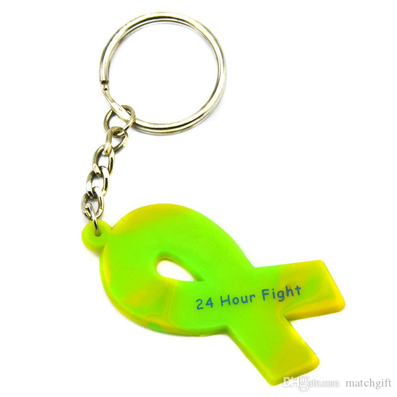 Printed 24 Hour Fight Against Cancer Ribbon Silicone Keychain A Great Way To Show Your Support