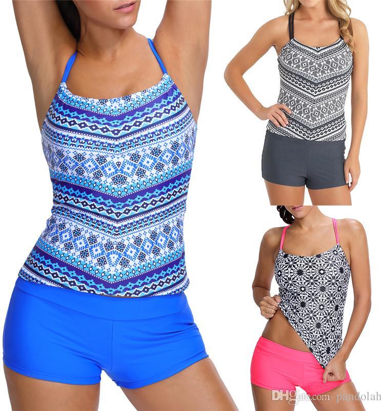 5b7bb4bd5a3ff 2019 2017 Sexy Women Sports Wear Tankini Swimwear Two Piece Swimsuits  Summer Bathing Suit Plus Size Padded Beach Wear From Pandolah, $11.87 |  DHgate.Com