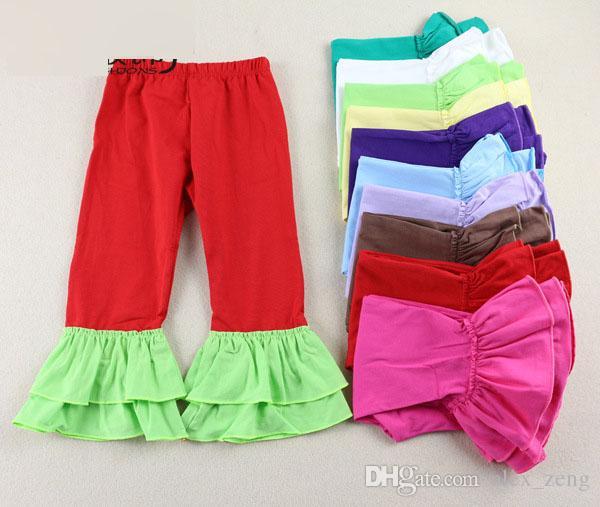 14 الألوان الكشكشة سروال الطفل الاطفال اللباس تكدرت الفتيات بانت الصلبة طماق القطن تكدرت السراويل عيد الميلاد الشتاء فتاة 1-7 سنوات