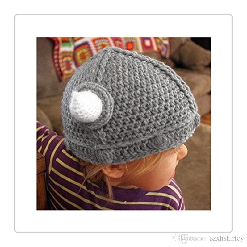 Baby Kids Bonnet Newborn Handmade Crochet Hat Viking Horns Knitted Hat Children's beanie cap Handmade Cap