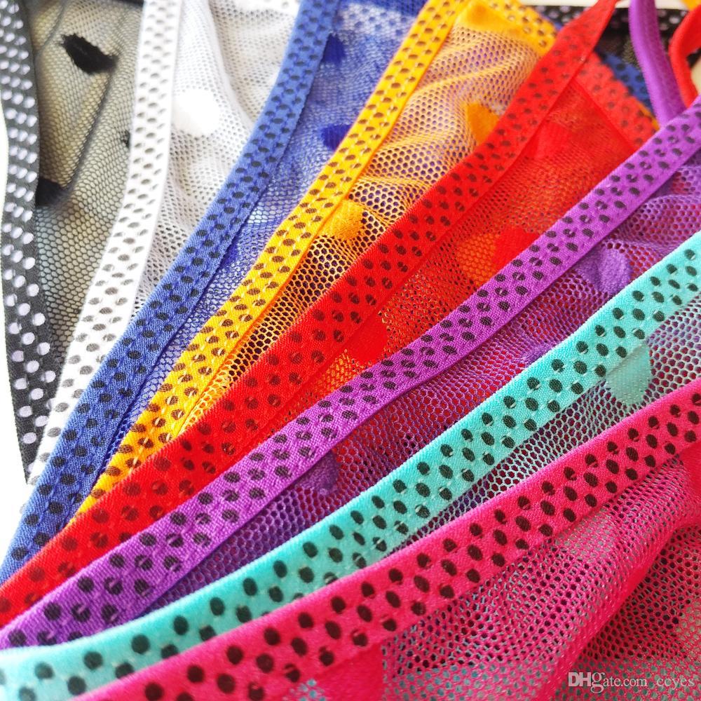 Ultra fino sexy mulheres g-corda transparente pontos de malha feminino biquíni calcinhas tangas cuecas de praia baratos t calcinha 8 cores 5001