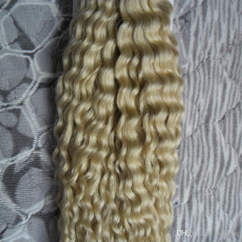 # 613 Bleach Extensions de cheveux blonds crépus bouclés kératine je pointe les extensions de cheveux 100g 1g / strand 100s capsules cheveux humains blonds