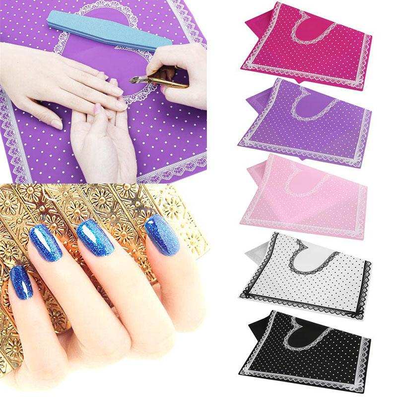 Wholesale- Nail Art Table Mat Cute Point Lace Silicone Foldable ...