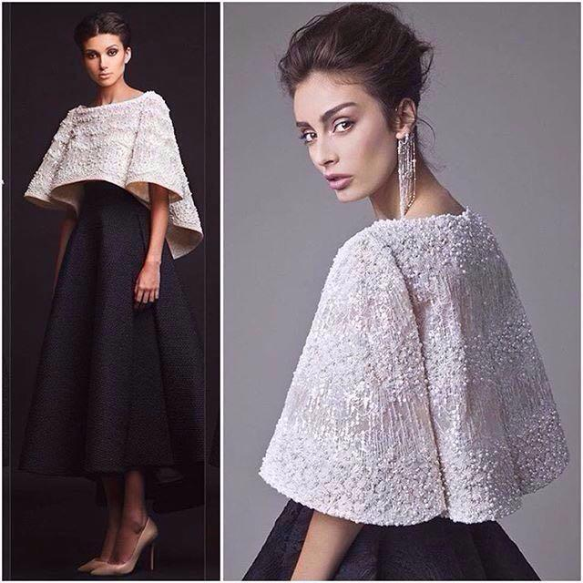 Black White Krikor Jabotian Evening Dresses Two Pieces Ankle Length Half Sleeves Prom Dresses With Jacket Formal Dresses Real Image