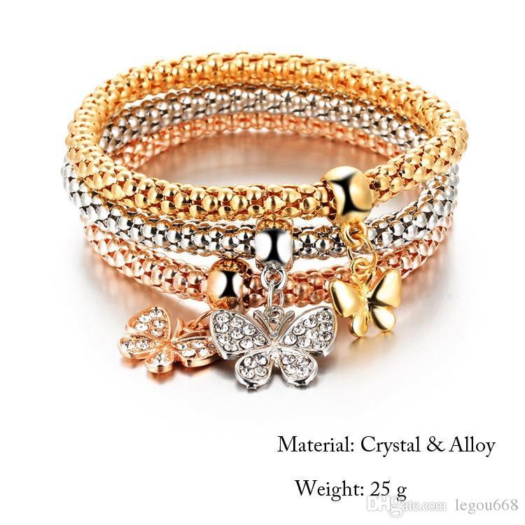 Vintage Designer Austrian Rhinestones Gold Color Charm Bracelets Popcorn Chain Jewelry For Women Alloy Pendant Bracelet