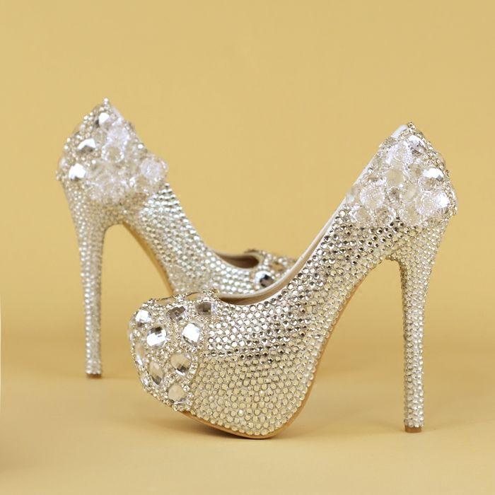 e8dc539a44 100% Handmade Wedding Shoes Women s High Heels shoes rhinestone crystal  bride shoes Woman Silver diamond Party Shoe pumps