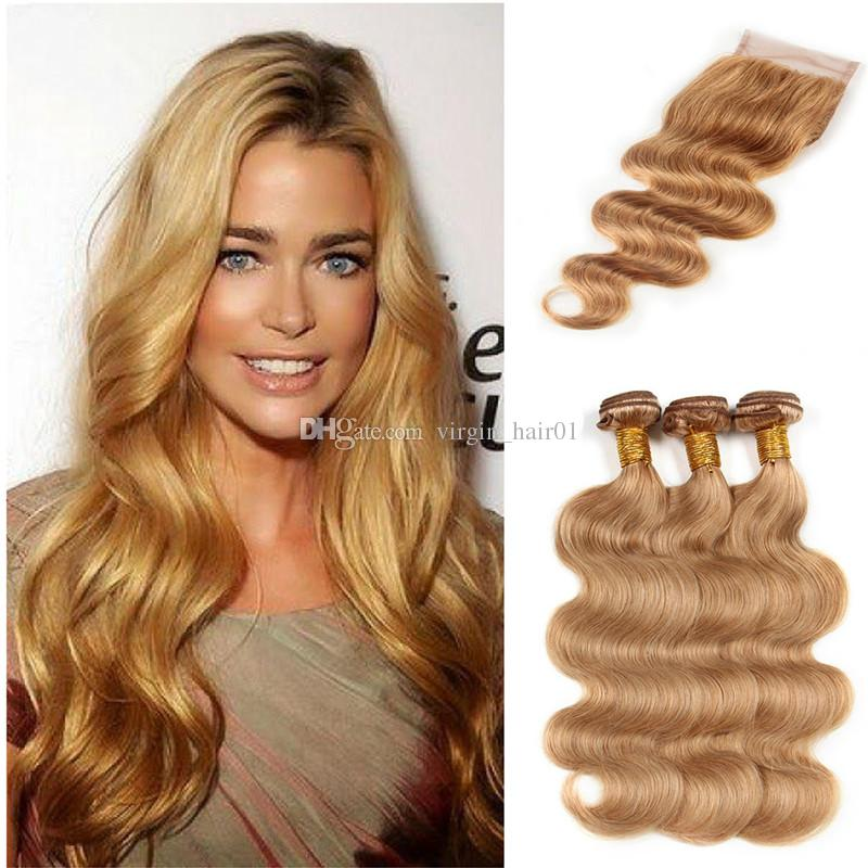 Brown Blonde Human Hair With Lace Closure New Arrive #27 Honey Blonde Body Wave Human Hair Weaves With Lace Closure 4Pcs Lot