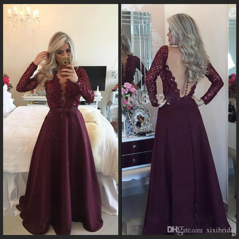 93d86ccfd6d Dazzling Deep V Neck Long Sleeve Prom Dresses 2017 Sexy Sheer Back Pearls  Beaded Burgundy Satin And Lace Evening Formal Gowns Promdresses Short Prom  Dress ...