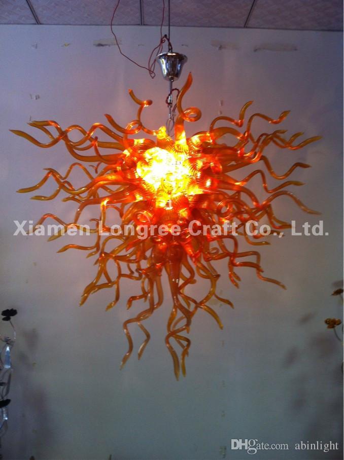 Brown Blown Glass Ceiling Chandelier Light Home Villa Decoration 100% Mouth Blown Borosilicate Glass LED Chandelier