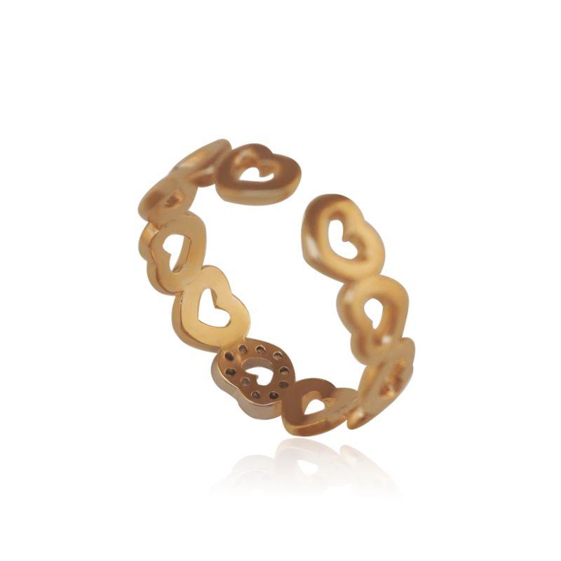 138R Herz Ringe für Frauen Resizable 2019 18k Reales Gold gefüllt Zirkon Gute Qualität