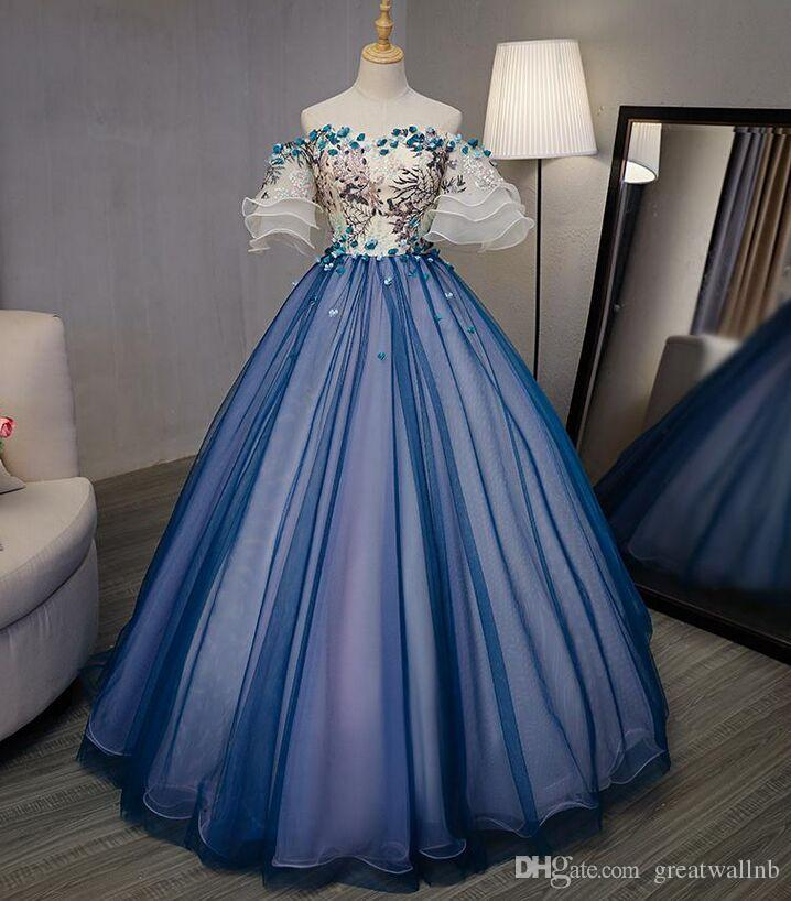 100% Real 18th Century Royal Court Blue Barcoque Cosplay Ball Gown ...