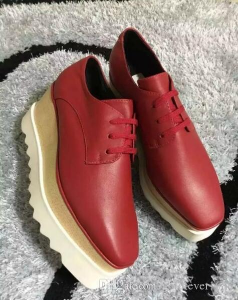 new wholesale Stella Mccartney women Shoes Binx Brogue Platform Elyse Derby Black Genuine Leather Dark Grey Star White Sole