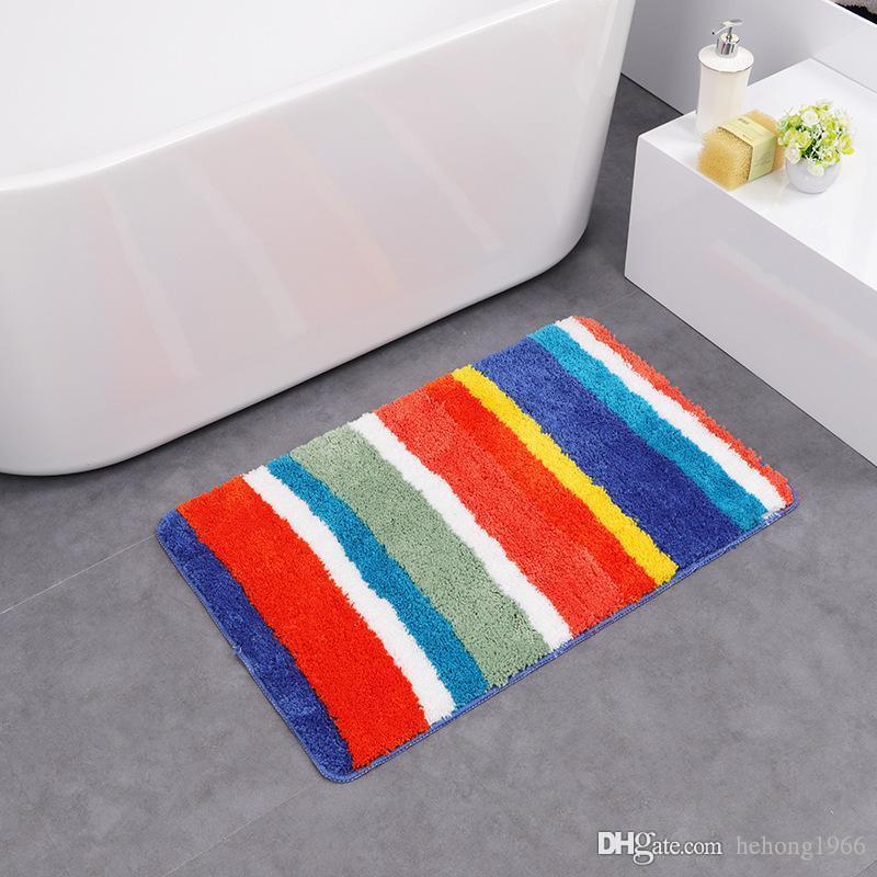 Stripe Carpet Super Fine Quality Fiber Soft Double Striped Non Slip Anti  Bacterial Bath Mat Rubber Backing Water Uptake Pad 27df F R