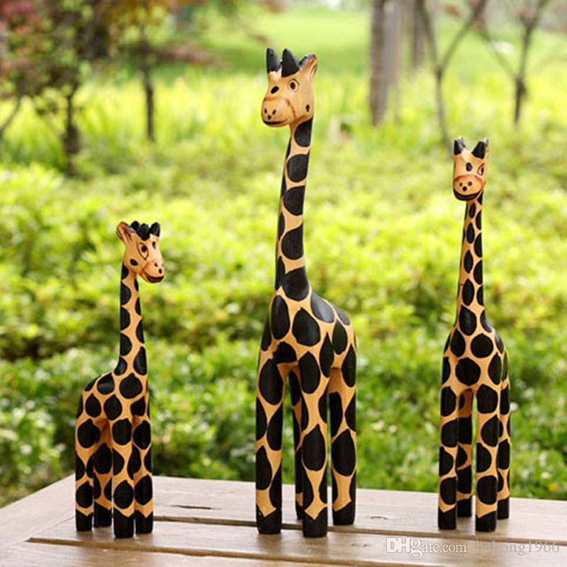 Zakka Groceries Giraffe Decoration Log Carving 3 Pcs In One Set Lovely Multi Function Home Furnishing Articles Hot Sale 25tz J R