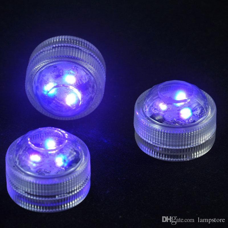 12 шт. / Лот Свадебные Украшения 3 RGB LED Пульт Дистанционного Управления Мини Водонепроницаемый Погружные Светодиодные Фонари С Батареей Для Хэллоуина Xmas Party