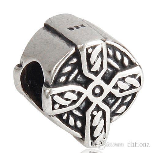 Antique 925 Sterling Silver Craft Jewelry Beads Cross Pattern Pandora European Bead Charm For Bracelet