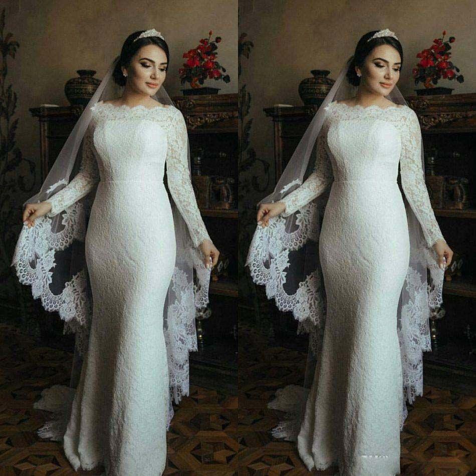Nova chegada vestidos de casamento muçulmanos mangas compridas lace trompete vestidos nupciais varredores trem 2021 vestido de noiva