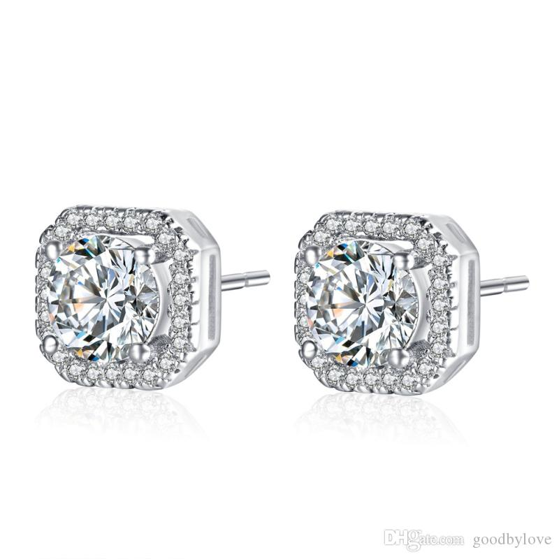 Gorgeous White Gold Color Small White Crystal Big Cubic Zirconia Square Piercing Stud Earrings for Women Luxury Jewelry