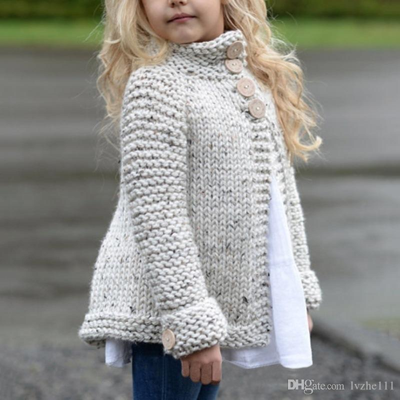 2018 New Winter Warm Baby Kids Girls Knitted Jacket clothes Coat Outerwear Cardigans Knitwear 7 Size