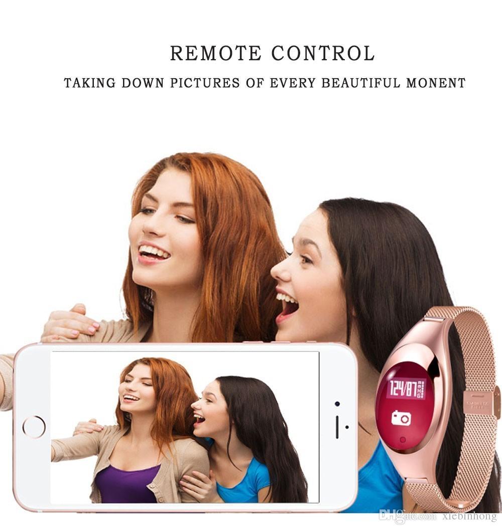 Montre de Luxe Z18 Bluetooth Bande Intelligente Bande de Pression Artérielle Bracelet Moniteur à Distance Selfie pour IOS Android