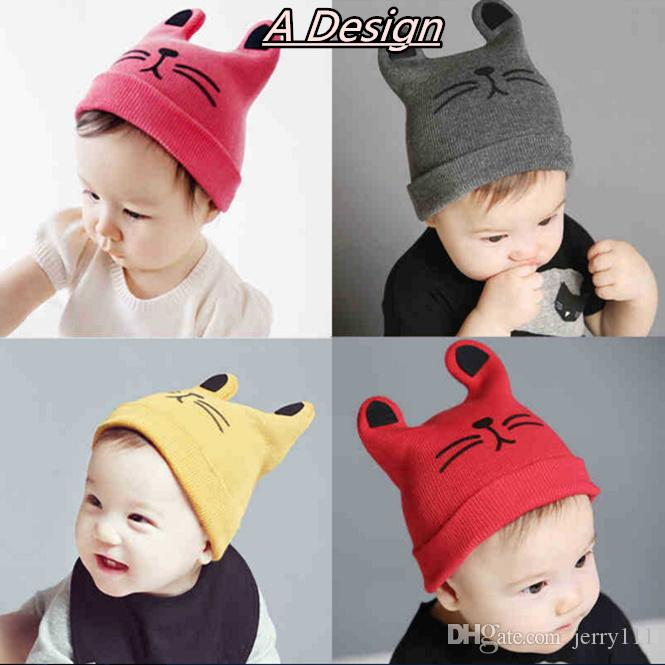 INS Baby cartoon Caps Kitty Woolen Yarn Autumn Winter Beanies Knitted Girl Gifts Infant Hats Cute Rabbit Ears Hats LC645