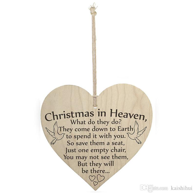 wood sign plaque christmas in heaven what do they do 4 x 4 inches wall decoration buy home decor cabin decor from kaishihui 1436 dhgatecom