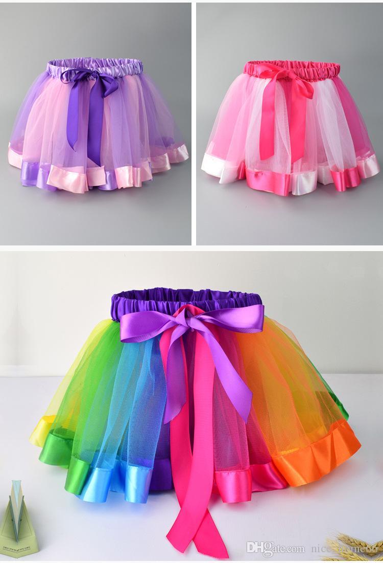 78808875b 2019 Children Girls Rainbow Tutu Skirt Summer Girls Dress Baby Girl ...
