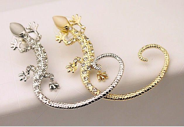 Chic Gecko Ohr Manschetten Eidechse Gothic Rock Ohr Wrap Manschette links Ohrring Gold / Silber Ton Punk Ohr Manschetten